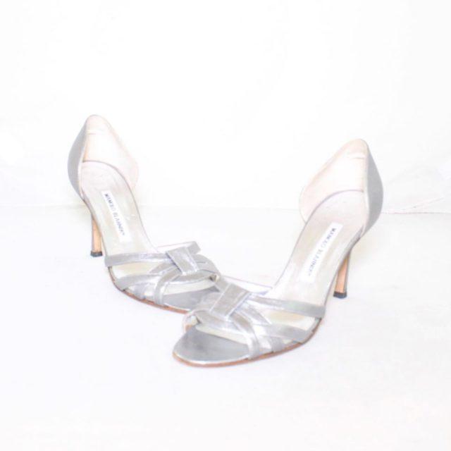 MANOLO BLAHNIK Silver Strappy Heels Size USA 7.5 Euro 37.5 7154 a