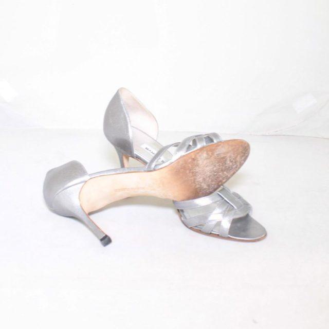 MANOLO BLAHNIK Silver Strappy Heels Size USA 7.5 Euro 37.5 7154 b