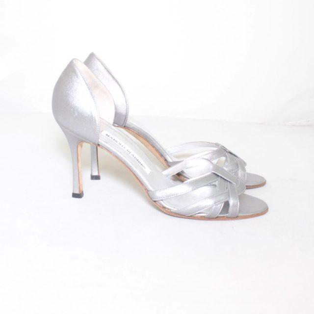 MANOLO BLAHNIK Silver Strappy Heels Size USA 7.5 Euro 37.5 7154 d