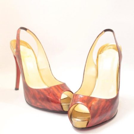CHRISTIAN LOUBOUTIN Red Gold Slingback Heels 4775 a