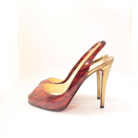 CHRISTIAN LOUBOUTIN Red Gold Slingback Heels 4775 b