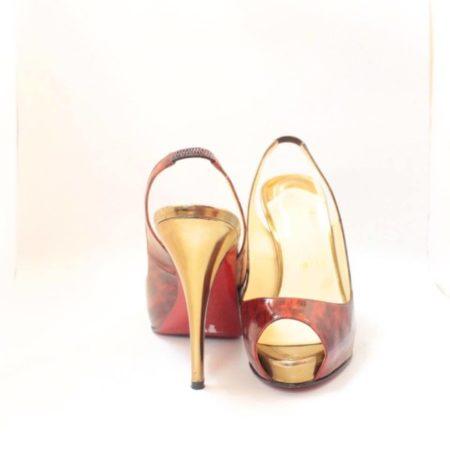 CHRISTIAN LOUBOUTIN Red Gold Slingback Heels 4775 e