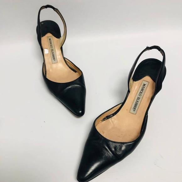 MANOLO BLAHNIK Black Heels Size US 6 Eur 36 1140 a