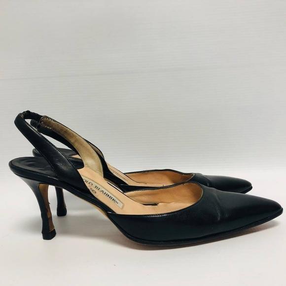 MANOLO BLAHNIK Black Heels Size US 6 Eur 36 1140 d