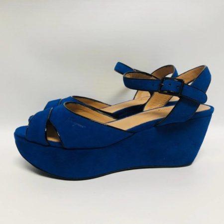 SALVATORE FERRAGAMO Blue Suede Wedges 10590 c
