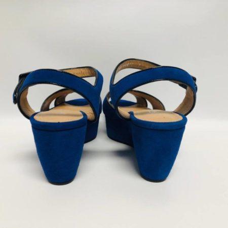 SALVATORE FERRAGAMO Blue Suede Wedges 10590 d