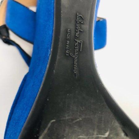 SALVATORE FERRAGAMO Blue Suede Wedges 10590 h