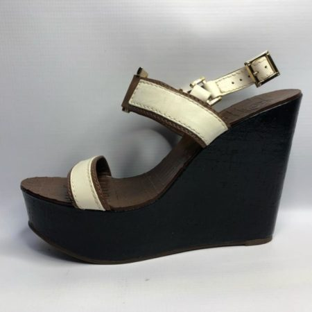 TORY BURCH Black Brown Wedges US 10.5M Eur 37.5 TM001 c