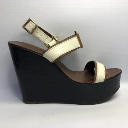 TORY BURCH Black Brown Wedges US 10.5M Eur 37.5 TM001 e