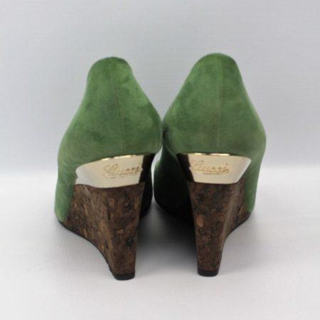 GUCCI Green Suede Shoes Size 7 Eur 37 11076 d