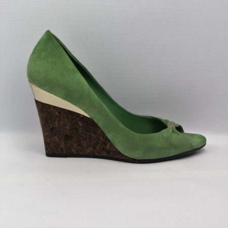 GUCCI Green Suede Shoes Size 7 Eur 37 11076 e