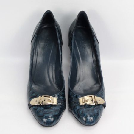 GUCCI Teal Heels Size 7.5 Eur 37.5 10994 b