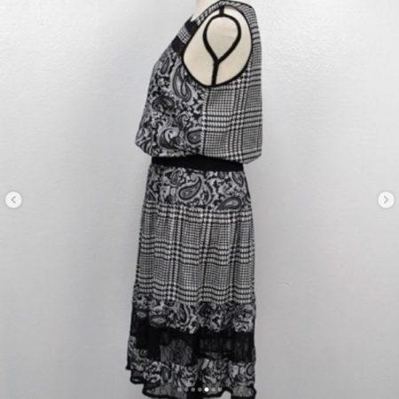 MICHAEL KORS Black White Dress Size S 9455 e
