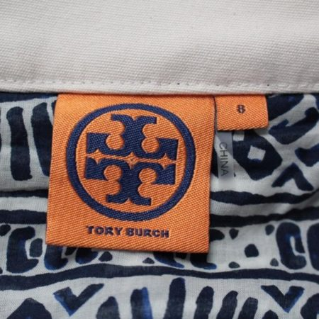 TORY BURCH Navy Blue White Skirt size 8 8721 f