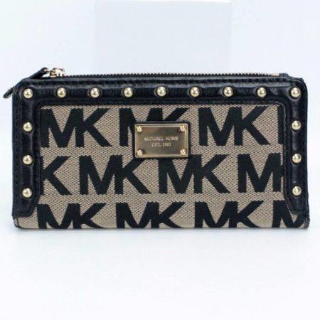 MICHAEL KORS Black Studded Wallet 8771 a