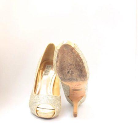 BADGLEY MISHKA Silver Gold Open Toe Pumps Size USA 7.5 Euro 37.5 Item10996 b