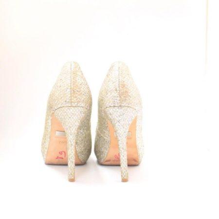 BADGLEY MISHKA Silver Gold Open Toe Pumps Size USA 7.5 Euro 37.5 Item10996 c