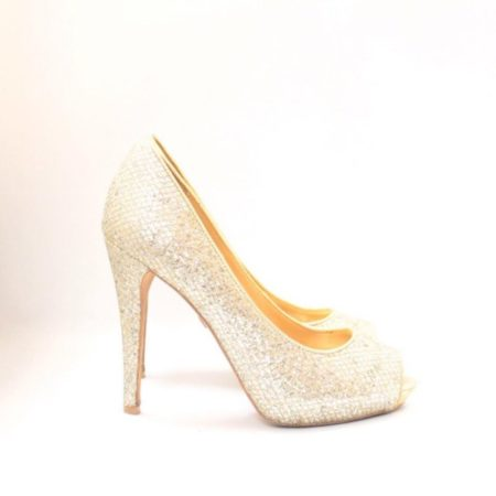 BADGLEY MISHKA Silver Gold Open Toe Pumps Size USA 7.5 Euro 37.5 Item10996 d