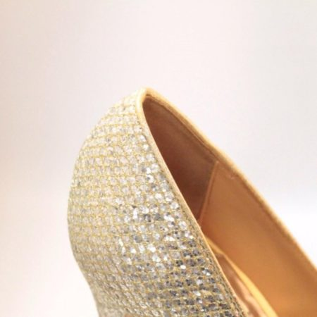 BADGLEY MISHKA Silver Gold Open Toe Pumps Size USA 7.5 Euro 37.5 Item10996 e