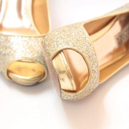BADGLEY MISHKA Silver Gold Open Toe Pumps Size USA 7.5 Euro 37.5 Item10996 f