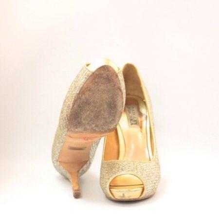 BADGLEY MISHKA Silver Gold Open Toe Pumps Size USA 7.5 Euro 37.5 Item10996 g