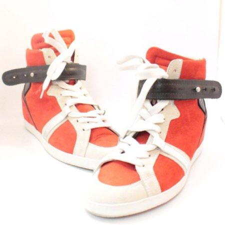 BARBARA BUI Red Black Suede High Top Sneakers 11070 a