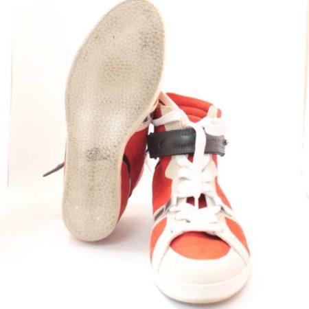 BARBARA BUI Red Black Suede High Top Sneakers 11070 b