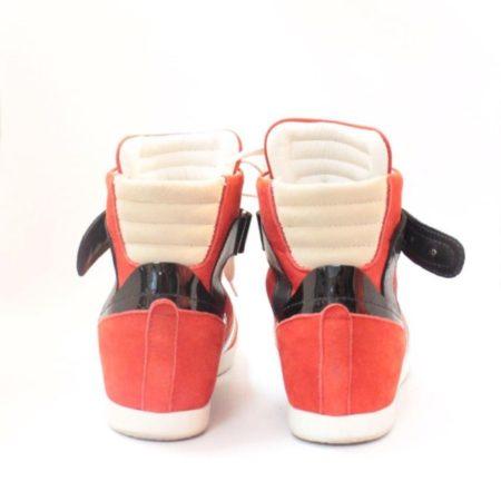 BARBARA BUI Red Black Suede High Top Sneakers 11070 e