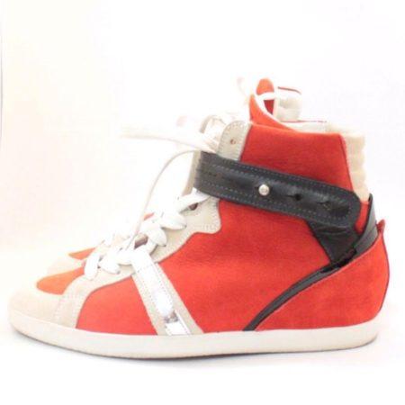 BARBARA BUI Red Black Suede High Top Sneakers 11070 f