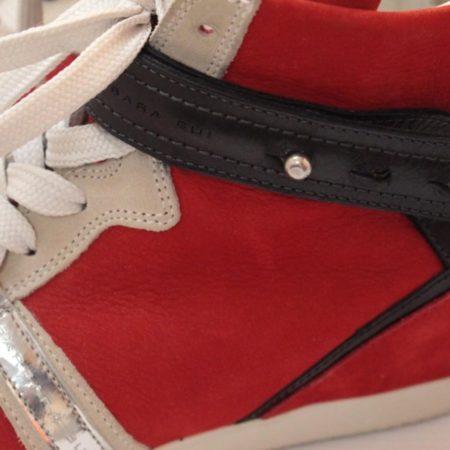 BARBARA BUI Red Black Suede High Top Sneakers 11070 g