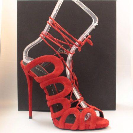 GIUSEPPE ZANOTTI Red Suede Stiletto Heels 12108 d