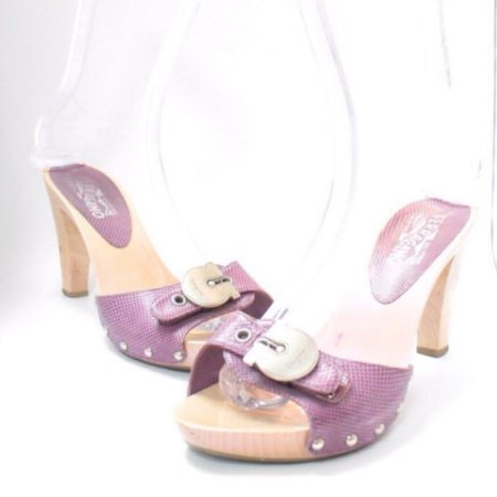 SALVATORE FERRAGAMO Lilac Sandal Platform Heels Size USA 8.5 Euro 38.5 Item8964 a