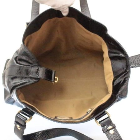 FENDI Black Patent Leather De Jour Tote Item13526 e