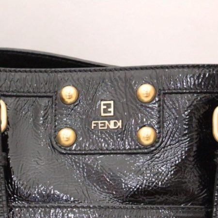 FENDI Black Patent Leather De Jour Tote Item13526 i
