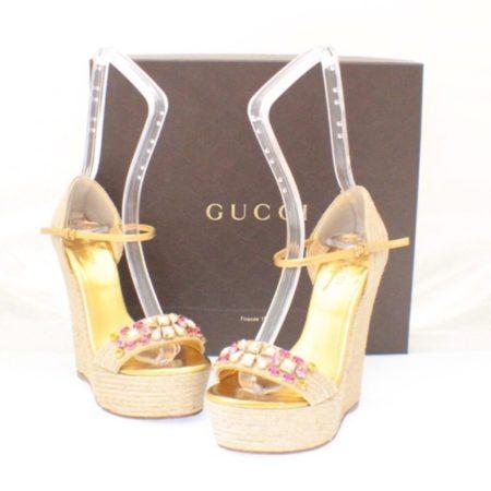 GUCCI Carolina Crystal Embellished Hold Wedges Size USA 6.5 Euro 36.5 Item14405 a