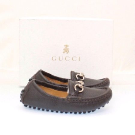 GUCCI Kids Brown Leather Loafers Size USA 8 Euro 24 Item13722 b