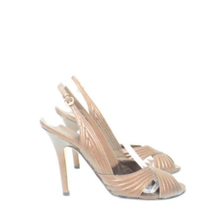 GUCCI Metallic Brown Strappy Heels Size USA 7 Euro 37 Item14456 b