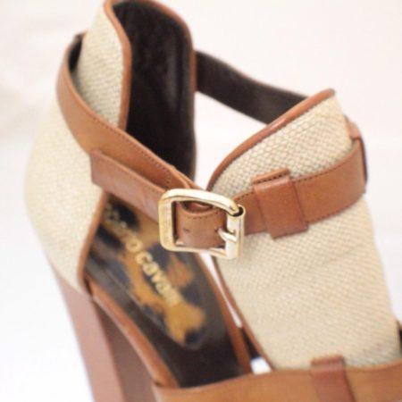 ROBERTO CAVALLI Open Toe Bootie Size USA 10.5 Euro 40.5 Item3847 g