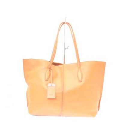 TODS Orange Leather Tote Item13529 a