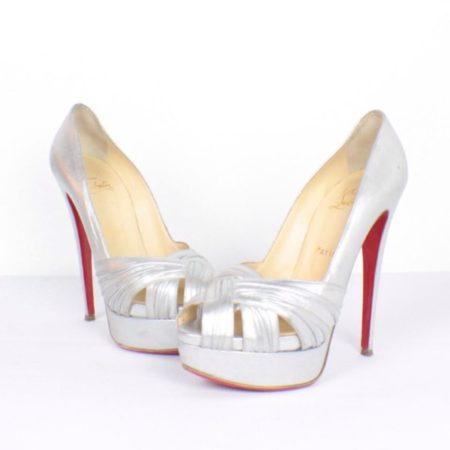 CHRISTIAN LOUBOUTIN Jenny Silver Peep Toe Pumps Size USA 8.5 Euro 38.5 Item15416 a