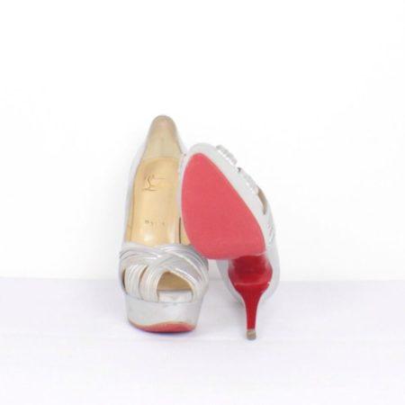 CHRISTIAN LOUBOUTIN Jenny Silver Peep Toe Pumps Size USA 8.5 Euro 38.5 Item15416 b