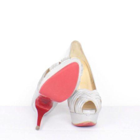CHRISTIAN LOUBOUTIN Jenny Silver Peep Toe Pumps Size USA 8.5 Euro 38.5 Item15416 c