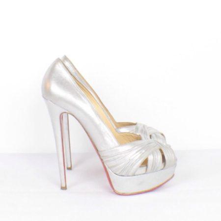CHRISTIAN LOUBOUTIN Jenny Silver Peep Toe Pumps Size USA 8.5 Euro 38.5 Item15416 d