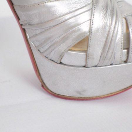 CHRISTIAN LOUBOUTIN Jenny Silver Peep Toe Pumps Size USA 8.5 Euro 38.5 Item15416 i
