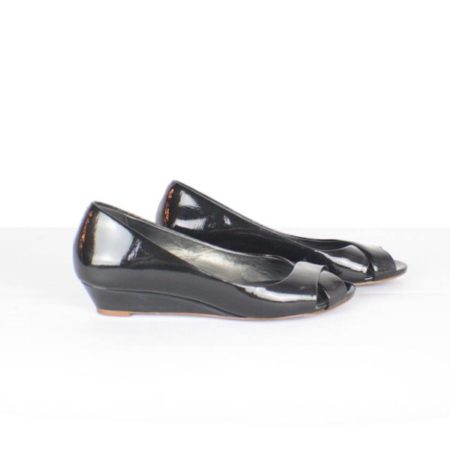 COLE HAAN Peep Toe Black Pumps Item14186 c