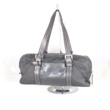 PRADA Black Leather Tessuto Hydra Shoulder Bag Item14939 b