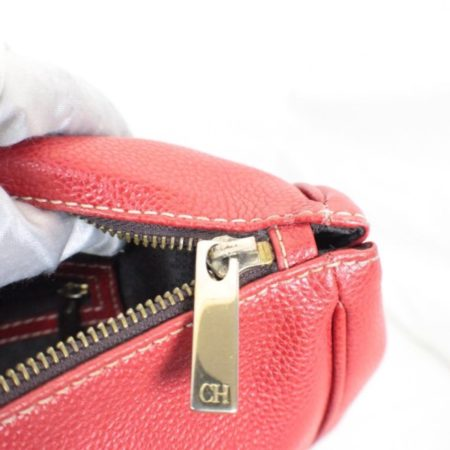 CAROLINA HERRERA Red Leather Matteo Tote Item16110 e