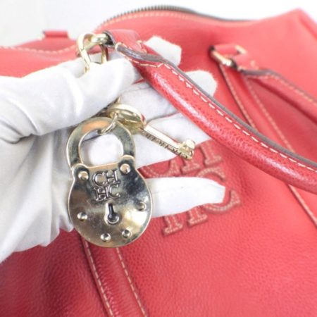 CAROLINA HERRERA Red Leather Matteo Tote Item16110 h