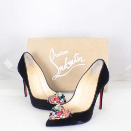 CHRISTIAN LOUBOUTIN Diva Cora 100 Velvet Heels Size USA 7 Euro 37 Item16376 a