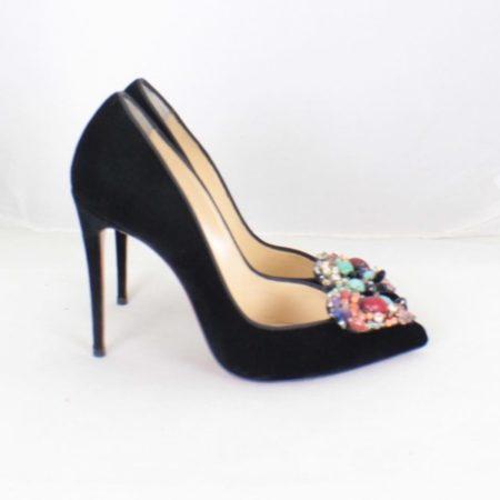 CHRISTIAN LOUBOUTIN Diva Cora 100 Velvet Heels Size USA 7 Euro 37 Item16376 b